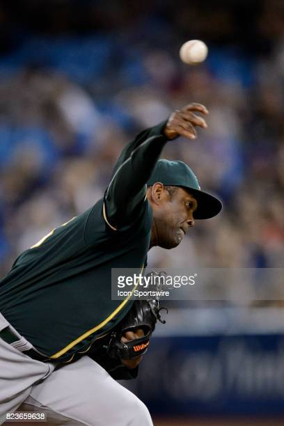 Oakland Athletics Pitcher Santiago Casilla pitches during the ninth inning of the MLB regular season game between the Toronto Blue Jays and the...
