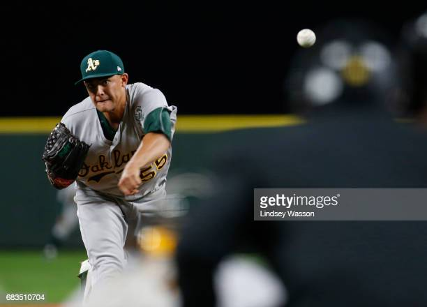 Oakland Athletics pitcher Sean Manaea pitches in the bottom of the first inning at Safeco Field on May 15 2017 in Seattle Washington