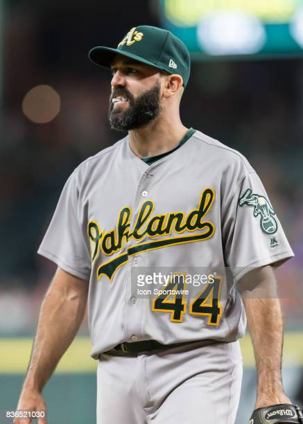 Oakland Athletics relief pitcher Chris Hatcher is relieved from the mound in the eighth inning of the MLB game between the Oakland Athletics and...