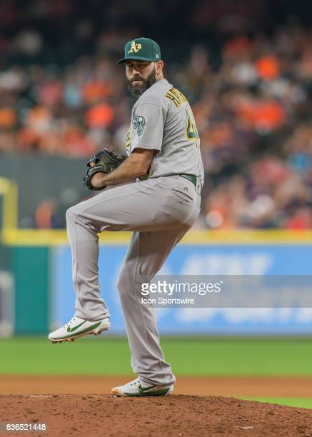 Oakland Athletics relief pitcher Chris Hatcher takes over the mound in the seventh inning of the MLB game between the Oakland Athletics and Houston...