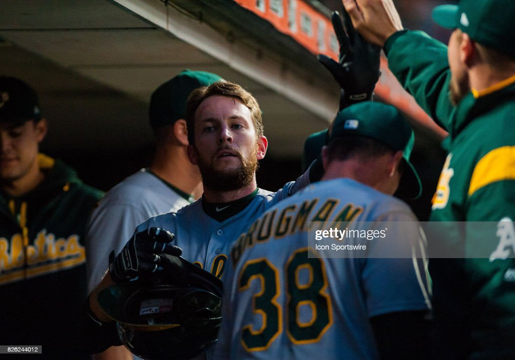Oakland Athletics second baseman Jed Lowrie (8) after coming into score on a base hit during the regular season MLB game between the San Francisco Giants verses the Oakland Athletics at AT&T Park in San Francisco,CA on August 3rd, 2017