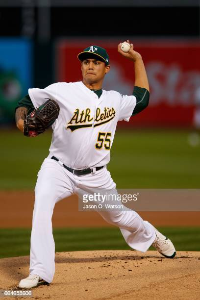 Oakland Athletics starting pitcher Sean Manaea pitches against the Los Angeles Angels of Anaheim during the first inning at the Oakland Coliseum on...