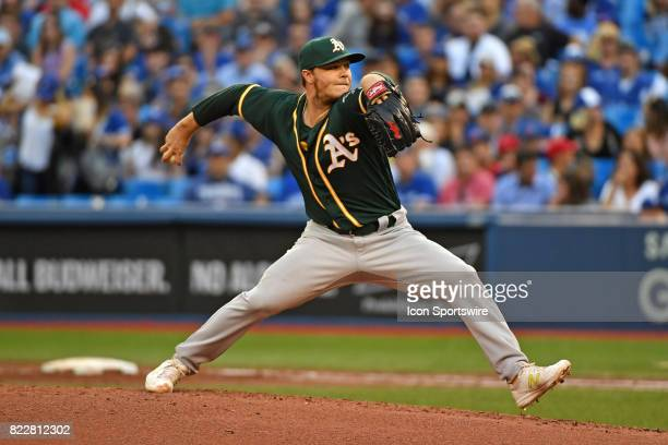 Oakland Athletics Starting pitcher Sonny Gray pitches during the MLB regular season game between the Oakland Athletics and Toronto Blue Jays at...