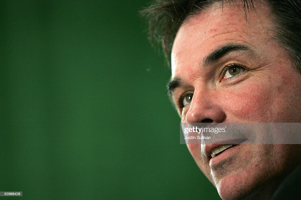 Oakland Athletics Vice President and General Manager Billy Beane speaks during a news conference announcing Lew Wolff as the new owner and managing...