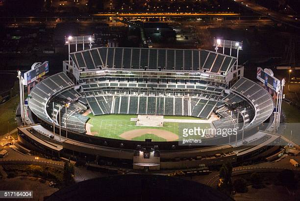 Oakland coliseum vacant at night seen from above