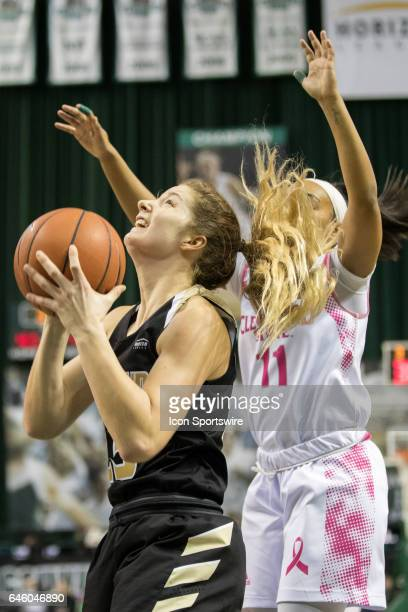 Oakland Golden Grizzlies F Leah Somerfield looks to shoot as Cleveland State Vikings G Khayla Livingston defends during the second quarter of the...