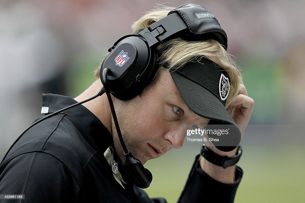 Oakland Raiders defensive coordinator <a gi-track='captionPersonalityLinkClicked' href=/galleries/search?phrase=Jason+Tarver&family=editorial&specificpeople=649692 ng-click='$event.stopPropagation()'>Jason Tarver</a> coaches during the game against the Houston Texans on November 17, 2013 at Reliant Stadium in Houston, Texas. Raiders won 28 to 23.