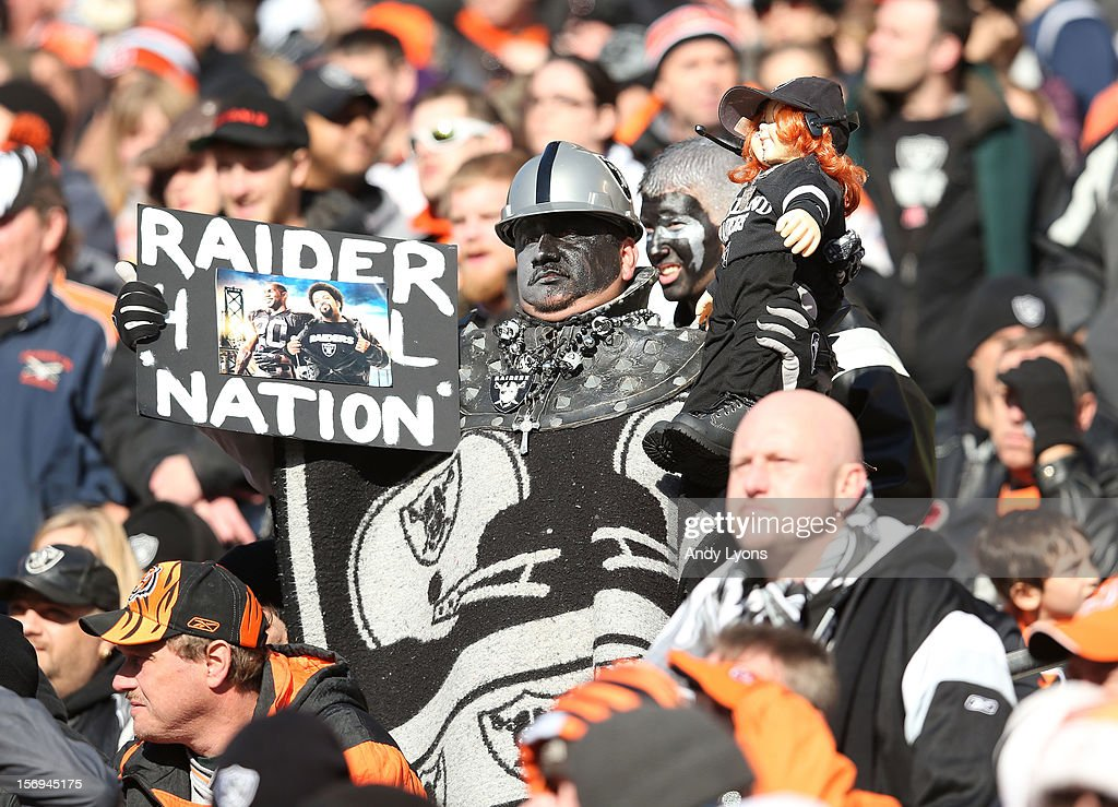 A Oakland Raiders fan watches the action during the NFL game against the Cincinnati Bengals at Paul Brown Stadium on November 25, 2012 in Cincinnati, Ohio.