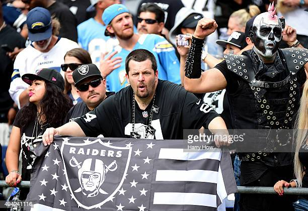 Oakland Raiders fans during the game against the San Diego Chargers at Qualcomm Stadium on October 25 2015 in San Diego California