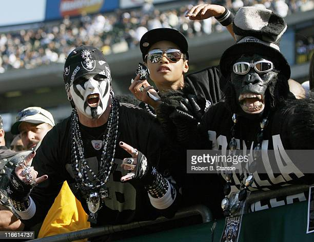 Oakland Raiders fans in Black Hole during game against the Pittsburgh Steelers at McAfee Coliseum in Oakland California on October 29 2006 The...