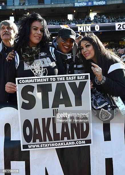 Oakland Raiders fans show their support for Oakland against the Minnesota Vikings at Oco Coliseum on November 15 2015 in Oakland California