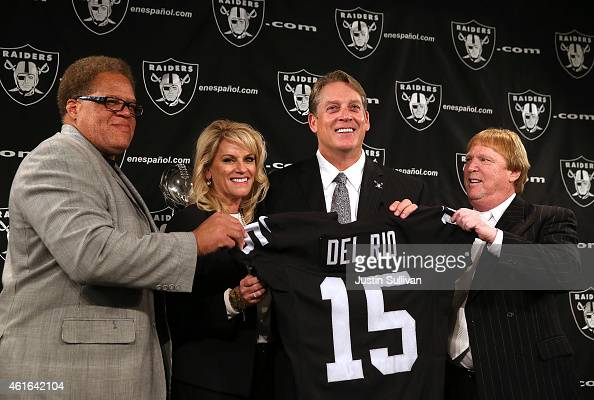 Oakland Raiders general manager Reggie McKenzie Linda Del Rio Raiders head coach Jack Del Rio and Raiders owner Mark Davis pose for a photo during a...