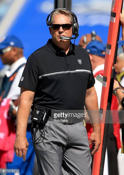 Oakland Raiders head coach Jack Del Rio during the game against the Jacksonville Jaguars at EverBank Field on October 23 2016 in Jacksonville Florida