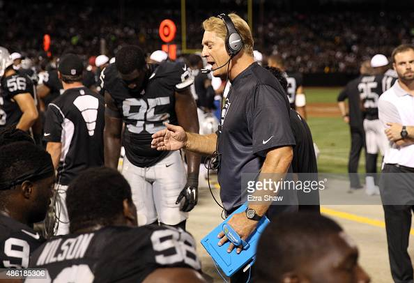Oakland Raiders head coach Jack Del Rio holds on to a Microsoft Surface tablet during their game against the St Louis Rams at Oco Coliseum on August...