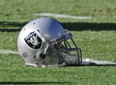 Oakland Raiders helmet before a game against the Kansas City Chiefs on December 24 2011 at Arrowhead Stadium in Kansas City Missouri Oakland defeated...