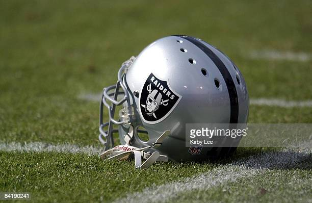 Oakland Raiders helmet on the sidelines The 49ers defeated the Raiders 1410 in the NFL preseason game at 3COM Park in San Francisco Calif on August...
