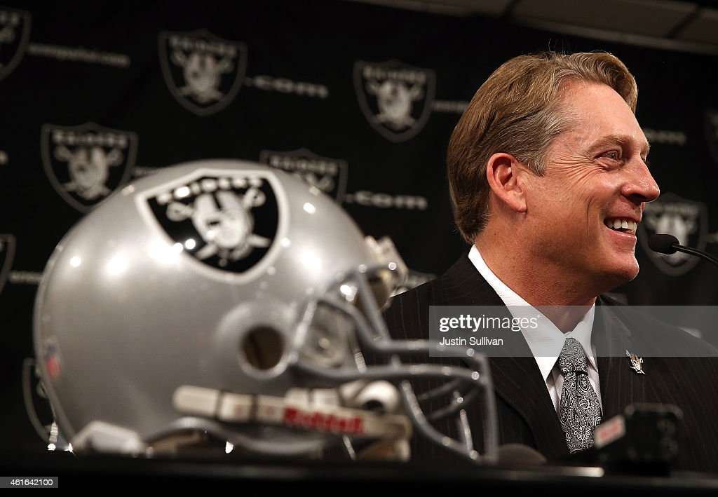 Oakland Raiders new head coach <a gi-track='captionPersonalityLinkClicked' href=/galleries/search?phrase=Jack+Del+Rio&family=editorial&specificpeople=184508 ng-click='$event.stopPropagation()'>Jack Del Rio</a> laughs during a news conference on January 16, 2015 in Alameda, California. The Oakland Raiders announced the hiring of <a gi-track='captionPersonalityLinkClicked' href=/galleries/search?phrase=Jack+Del+Rio&family=editorial&specificpeople=184508 ng-click='$event.stopPropagation()'>Jack Del Rio</a> as their new head coach.