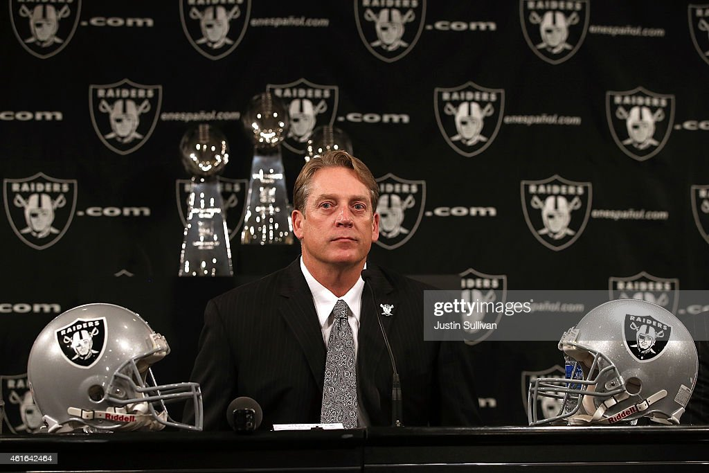 Oakland Raiders new head coach <a gi-track='captionPersonalityLinkClicked' href=/galleries/search?phrase=Jack+Del+Rio&family=editorial&specificpeople=184508 ng-click='$event.stopPropagation()'>Jack Del Rio</a> looks on during a news conference on January 16, 2015 in Alameda, California. The Oakland Raiders announced the hiring of <a gi-track='captionPersonalityLinkClicked' href=/galleries/search?phrase=Jack+Del+Rio&family=editorial&specificpeople=184508 ng-click='$event.stopPropagation()'>Jack Del Rio</a> as their new head coach.