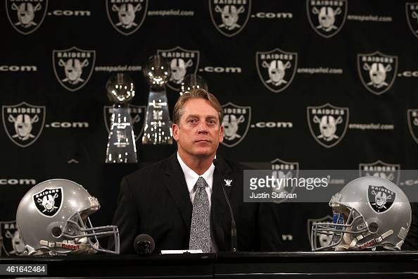 Oakland Raiders new head coach Jack Del Rio looks on during a news conference on January 16 2015 in Alameda California The Oakland Raiders announced...