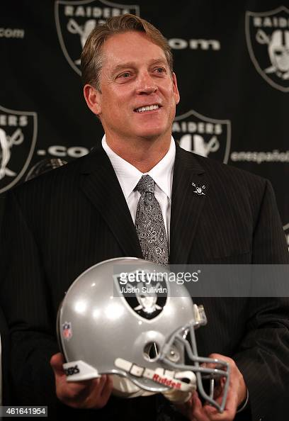 Oakland Raiders new head coach Jack Del Rio poses for a photograph during a news conference on January 16 2015 in Alameda California The Oakland...
