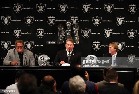 Oakland Raiders new head coach Jack Del Rio speaks as Raiders general manager Reggie McKenzie and Raiders owner Mark Davis look on during a news...