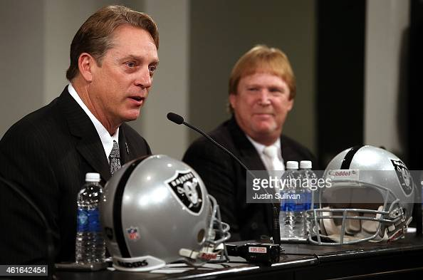 Oakland Raiders new head coach Jack Del Rio speaks during a news conference as Raiders owner Mark Davis looks on on January 16 2015 in Alameda...