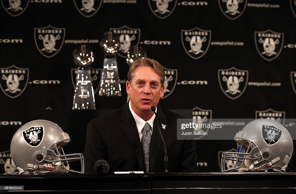 Oakland Raiders new head coach <a gi-track='captionPersonalityLinkClicked' href=/galleries/search?phrase=Jack+Del+Rio&family=editorial&specificpeople=184508 ng-click='$event.stopPropagation()'>Jack Del Rio</a> speaks during a news conference on January 16, 2015 in Alameda, California. The Oakland Raiders announced the hiring of <a gi-track='captionPersonalityLinkClicked' href=/galleries/search?phrase=Jack+Del+Rio&family=editorial&specificpeople=184508 ng-click='$event.stopPropagation()'>Jack Del Rio</a> as their new head coach.