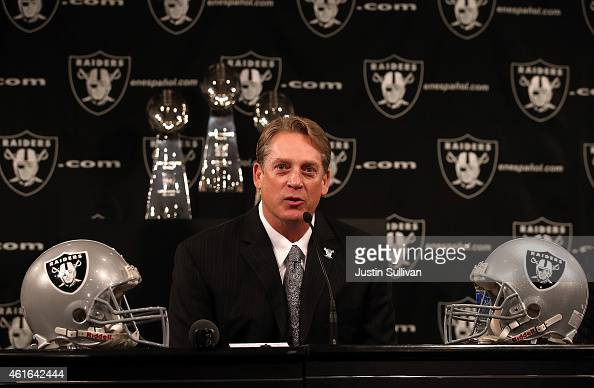 Oakland Raiders new head coach Jack Del Rio speaks during a news conference on January 16 2015 in Alameda California The Oakland Raiders announced...