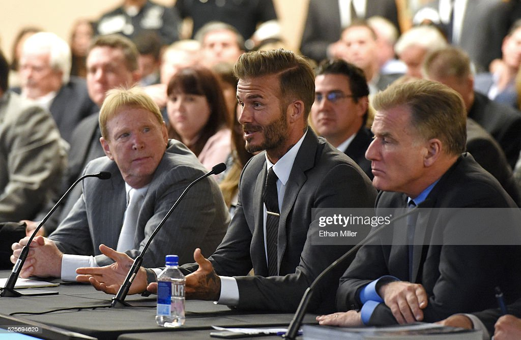 Oakland Raiders owner Mark Davis, former soccer player David Beckham and Las Vegas Sands Corp. President and Chief Operating Officer Robert Goldstein attend a Southern Nevada Tourism Infrastructure Committee meeting at UNLV on April 28, 2016 in Las Vegas, Nevada. Davis told the committee he is willing to spend USD 500,000 as part of a deal to move the team to Las Vegas if a proposed USD 1.3 billion, 65,000-seat domed stadium is built by casino magnate Sheldon Adelson's Las Vegas Sands Corp. and real estate agency Majestic Realty, possibly on a vacant 42-acre lot a few blocks east of the Las Vegas Strip recently purchased by UNLV.