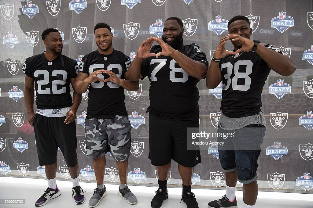 Oakland Raiders players, Taiwan Jones, Malcolm Smith, Justin Ellis and T. J Carrie pose for a picture during The Oakland Raiders Fan Fest in Mexico City, Mexico on April 30, 2016. Raiders and HoustonTexans will play at the Azteca Stadium next Nov 21, will also be the first Monday Night NFL game played outside the U.S.