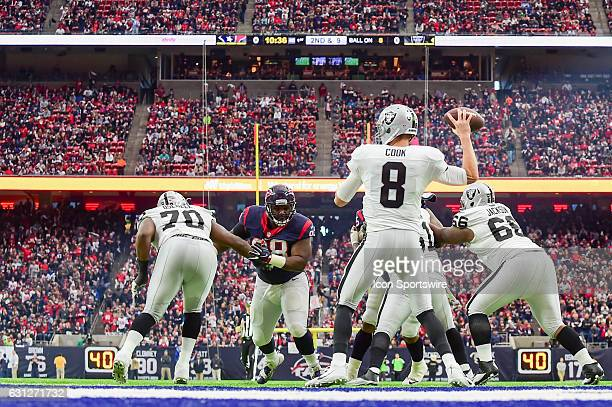 Oakland Raiders quarterback Connor Cook looks to pass to the flat during the NFL AFC Wild Card game between the Oakland Raiders and Houston Texans on...