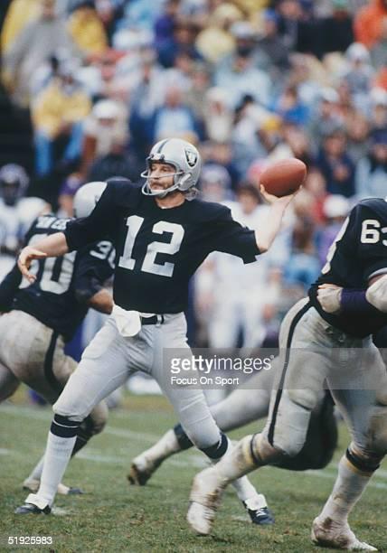 Oakland Raiders' quarterback Ken Stabler throws a pass during a game at the Oakland Alameda County Coliseum circa 1980 in Oakland California