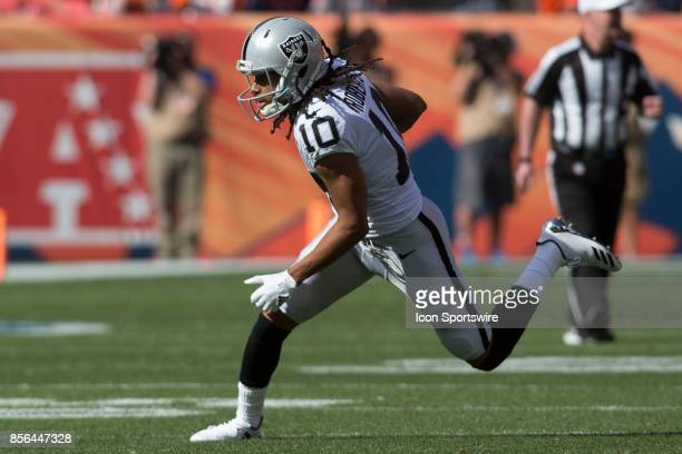 Oakland Raiders receiver Seth Roberts runs the ball during the Oakland Raiders vs Denver Broncos football game on October 1 2017 at Sports Authority...