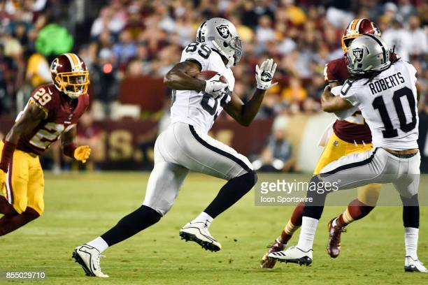 Oakland Raiders wide receiver Amari Cooper in action against Washington Redskins cornerback Kendall Fuller on September 24 at FedEx Field in Landover...