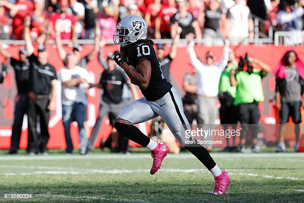 Oakland Raiders wide receiver Seth Roberts breaks free and runs toward the end zone for a 41yard touchdown reception in overtime of the NFL game...