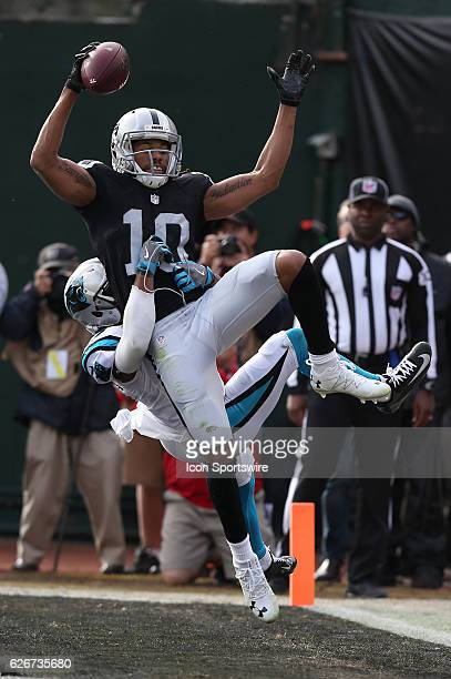 Oakland Raiders wide receiver Seth Roberts gets airborne for a touchdown reception during action in an NFL game against the Carolina Panthers on...