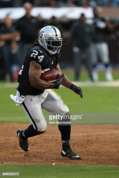 Oakland running back Marshawn Lynch makes his Raiders debut during action in an NFL preseason game against the Los Angeles Rams on August 19 at the...