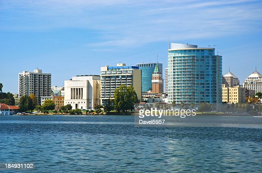 Oakland skyline closeup w/ Lake Merritt