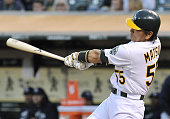 Oakland United States Oakland Athletics designated hitter Hideki Matsui hits a threerun homer during the fourth inning of a game against the Tampa...