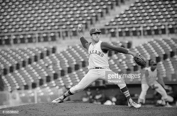 Oakland's Jim 'Catfish' Hunter shows off his pitching form as he prepares to fire the ball in 8th inning against the Minnesota Twins Hunter went on...