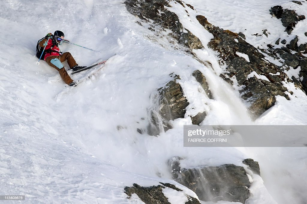 US Oakley White-Allen competes on the Bec de Rosses mountain during the Xtreme Freeride World Tour final on March 24, 2012 above the Swiss Alps resort of Verbier.