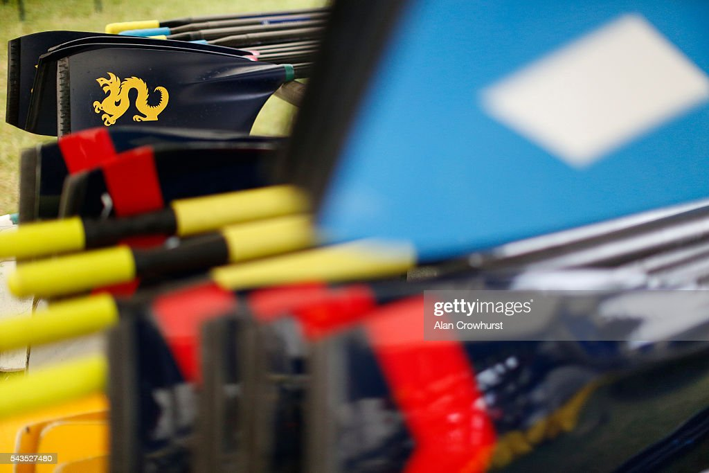 Oars on racks in the boat shed during the Henley Royal Regatta on June 29, 2016 in Henley-on-Thames, England.