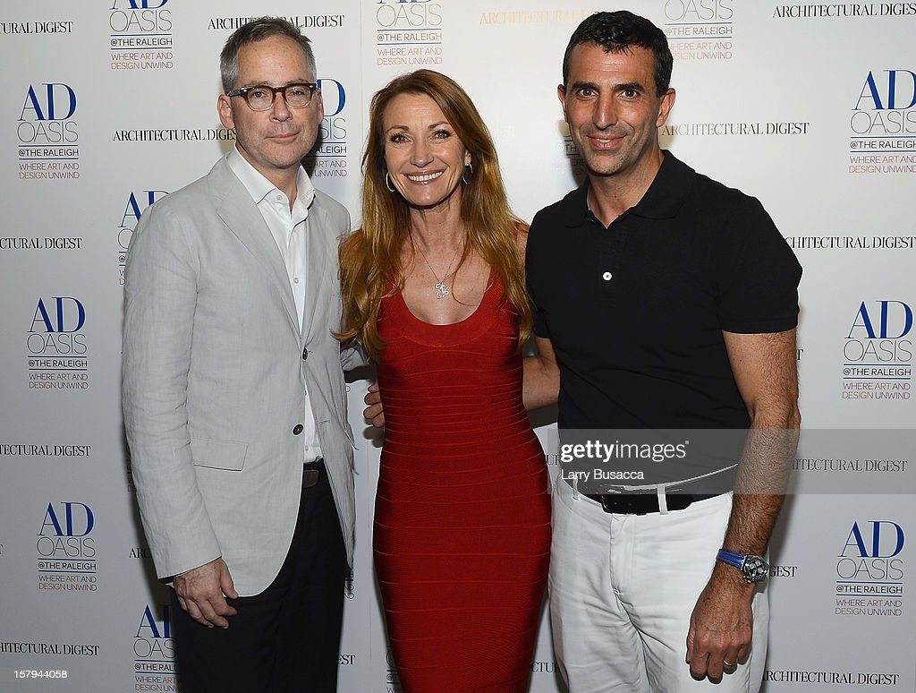 AD Oasis Designer Mark Cunningham, actress Jane Seymour and Giulio Capua of Architectural Digest arrive to AD Oasis & Sunbrella host Cocktail Party Celebrating AD100 Designer Mark Cunningham at The Raleigh on December 7, 2012 in Miami, Florida.