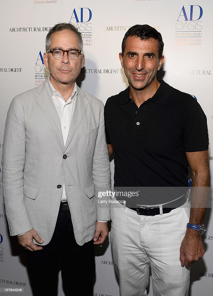 AD Oasis Designer Mark Cunningham and Giulio Capua of Architectural Digest arrive to AD Oasis & Sunbrella host Cocktail Party Celebrating AD100 Designer Mark Cunningham at The Raleigh on December 7, 2012 in Miami, Florida.