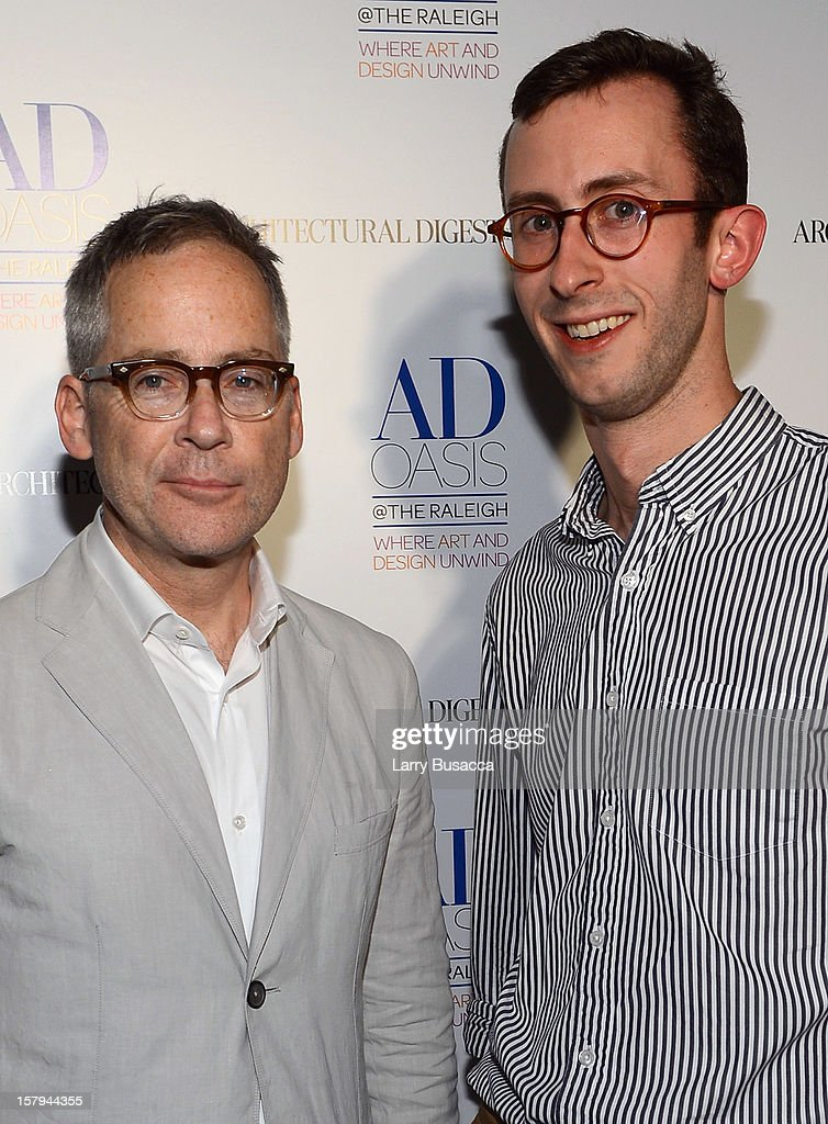 AD Oasis Designer Mark Cunningham and Sam Cochran of Architectural Digest arrive to AD Oasis & Sunbrella host Cocktail Party Celebrating AD100 Designer Mark Cunningham at The Raleigh on December 7, 2012 in Miami, Florida.