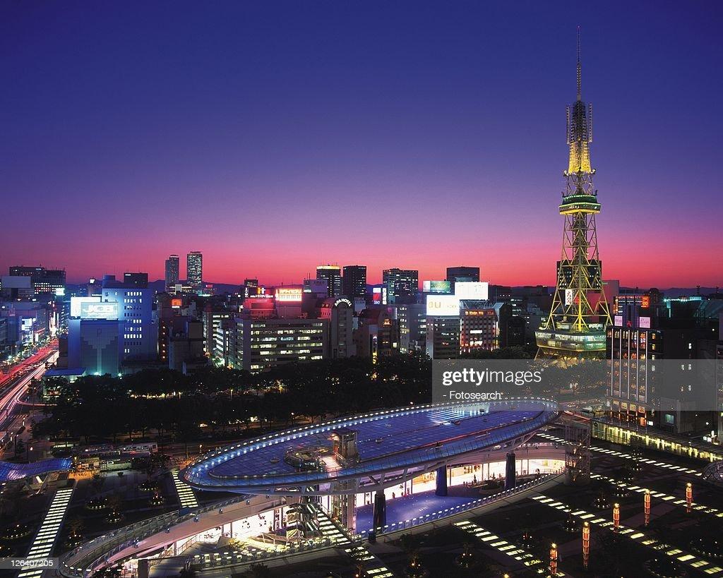 Oasis21 and Nagoya Television Tower, Nagoya City, Japan, High Angle View, Long Exposure