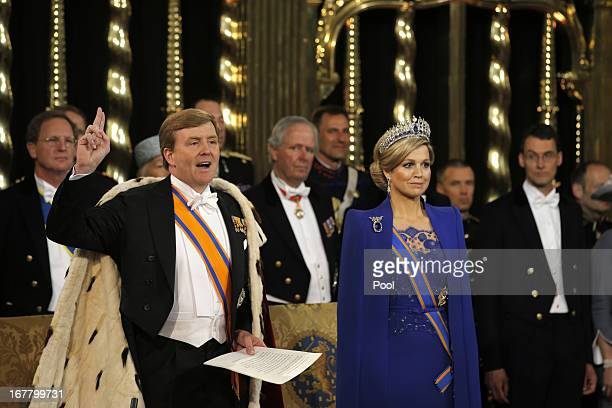Oaths are sworn during the inauguration ceremony of King Willem Alexander and Queen Maxima of the Netherlands at New Church on April 30 2013 in...