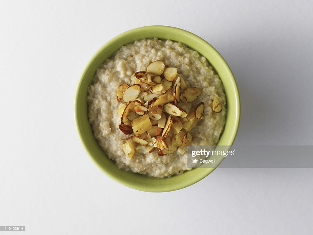 oatmel with almonds : Stock Photo