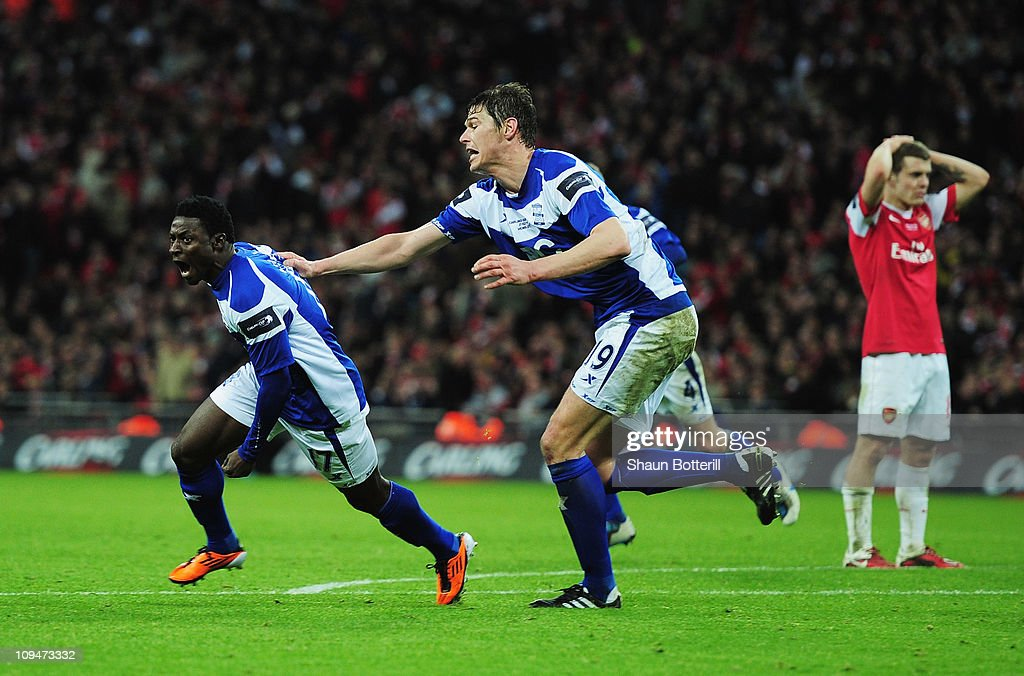 Obafemi Martins of Birmingham City celebrates the winning goal with Nikola Zigic during the Carling Cup Final between Arsenal and Birmingham City at...