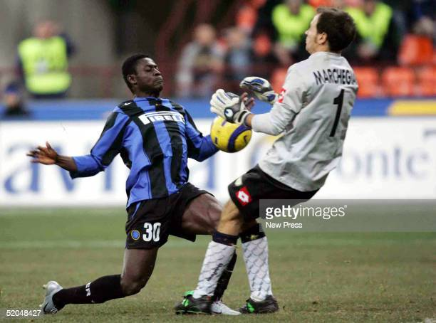 Obafemi Martins of Inter Milan struggles for control of the ball with Luca Marchegiani of Chievo Verona January 22 2005 at Stadio Giuseppe Meazza in...